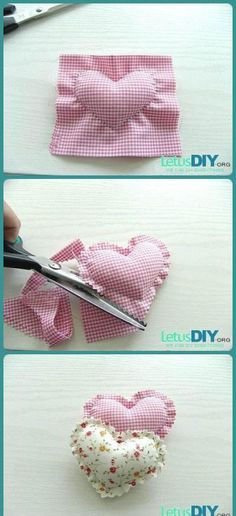 Fabric Crafts, Sewing Crafts, Sewing Projects, Valentine Crafts, Valentines, Christmas Decorations To Make, Craft Tutorials, Diy Crafts For Kids, Sewing Hacks