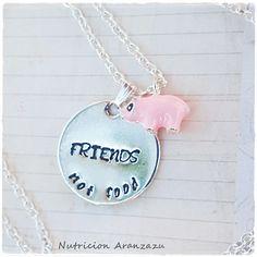 Friends not food Veganism Vegan Necklace Materials: Hand Stamped Metal. Size: The necklace is long. Jewelry Stamping, Stamped Jewelry, Metal Stamping, Vegan Meringue, Jewelry Box, Jewelery, Pig Stuff, Hand Stamped Metal, Mini Pig