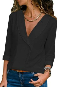 fc733f2c835c9a v neck single breasted plain blouses Kleidung