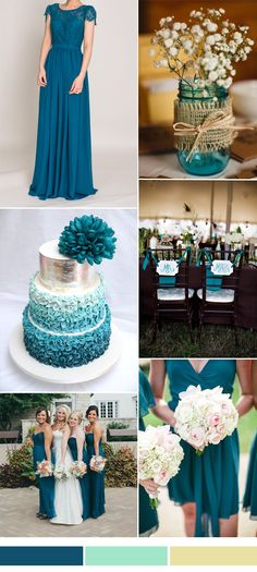 Teal blue wedding decorations lace and chiffon bridesmaid dress with cap sleeves wedding colors blue Wedding Themes, Wedding Decorations, Wedding Ideas, Wedding Photos, Trendy Wedding, Dream Wedding, Wedding Summer, Boquette Wedding, Autumn Wedding