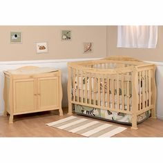 DaVinci 2 Piece Nursery Set - Parker 4 in 1 Convertible Crib with Toddler Rail and 2 Door Changing Table - Natural - Click to enlarge