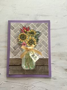 Jar of flowers SU, card design by Debbie Reed Love Jar, Mason Jar Cards, Sunflower Cards, Mason Jar Flowers, Flower Stamp, Ink Stamps, Stamping Up Cards, Shaker Cards, Handmade Birthday Cards