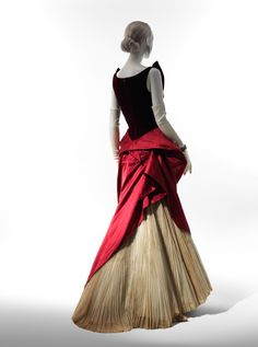 Charles James (American, born Great Britain, 1906–1978). Ball Gown, 1949–50. Red silk velvet, red silk satin, white cotton organdy. The Metropolitan Museum of Art, New York. Brooklyn Museum Costume Collection at The Metropolitan Museum of Art, Gift of the Brooklyn Museum, 2009; Gift of Arturo and Paul Peralta-Ramos, 1954 (2009.300.2786) #CharlesJames