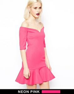 Image 1 ofASOS Bardot Texture Peplum Hem Dress