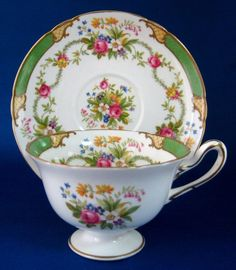 Vintage Antique Green DuBarry Shelley England Cup and Saucer Gainsborough Shape – Antiques And Teacups - This is a lovely bone china cup and saucer made by Shelley China, England in The shape of the teacup and saucer is Gainsborough and the pattern is Tea Cup Set, My Cup Of Tea, Tea Cup Saucer, China Cups And Saucers, Teapots And Cups, Green Tea Cups, Vintage Cups, Vintage China, China Tea Sets