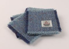 Set of 4 Coasters Harris Tweed Blue Herringbone by MyScottishHome