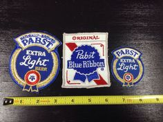 3 Pabst Blue Ribbon Beer Patches PBR New Old Stock