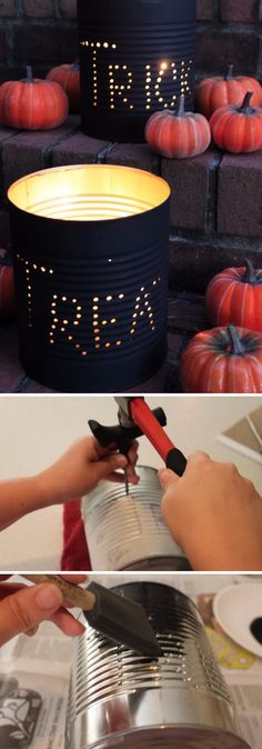 Halloween Tin Can Luminaries.