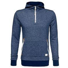 Blauer #Kapuzenpullover mit #Lederdetails ab 44,90€  Hier kaufen: http://www.stylefru.it/s568407 #hoodie #pullover #blau