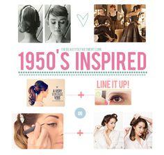 1950s-inspired looks   •VINTAGE PONYTAIL   •WINGED LINER TAPE TRICK   •OLD HOLLYWOOD GLAM LINER   •VINTAGE HAIR TUTORIAL