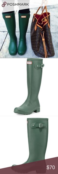 Green Hunter Rain Boots Green Hunter Rain boots. They were my sisters, she bought them too small. Gave them to me and they are too small for me as well. Some wear as shown in photos. It's not that noticeable though, as seen in the photo of the boots upright. Very good condition. Shoes Winter & Rain Boots