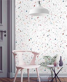 Décor do dia: papel de parede de marmorite na sala (Foto: reprodução)