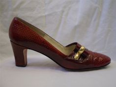 Vintage 60s Pump Palizzio Baynhams Faux Snake Brown Gold Detail 7.5 Narrow #Palizzio #PumpsClassics