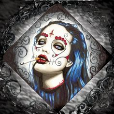 Day of the Dead Angelina Jolie Portrait square por ShayneoftheDead