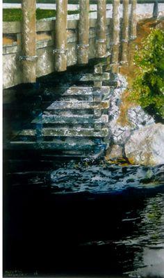 bridge nova scotia 22 x 14  micheal zarowsky watercolour on arches paper - private collection