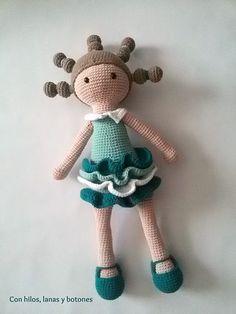 Con hilos, lanas y botones: muñeca amigurumi Candice (patrón DuduToyFactory)