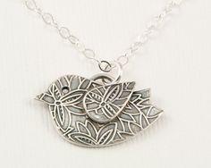 Silver bird necklace, fine silver PMC, whimsical jewelry, oxidized silver pendant, Precious Metal Clay, bird jewelry, eco friendly
