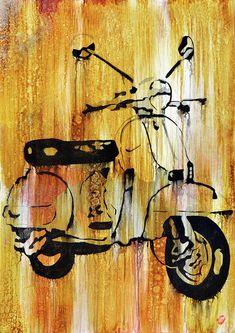 Super Ideas For Vintage Bike Painting Canvas Piaggio Vespa, Vespa Lambretta, Vespa Scooters, Dirt Bike Tattoo, Bike Tattoos, Vespa Images, Quad, Cruiser Bike Accessories, Vespa Motorcycle