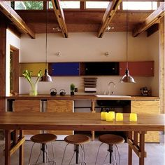 kitchen. plywood. color laminate. wood ceiling detail. by Aude