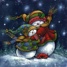A Winter Hug by Janet Stever ~ snowman ~ snow people ~ Christmas