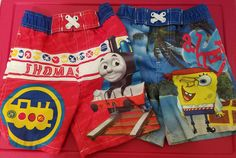 Lot of 2 Boys Sz 18M Thomas the Train & Spongebob Squarepants Swim Trunks #NickelodeonThomastheTrain #SwimBottoms