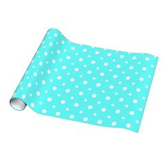 Cute Polka Dots, White on Aqua Gift Wrap, great for any occasion or any gender #polkadots #giftwrap #spots #aqua