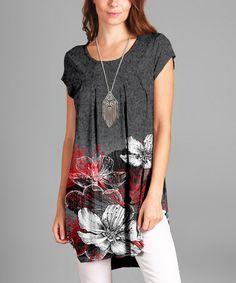 Love this Gray & Red Floral Round-Hem Tunic - Plus on #zulily! #zulilyfinds