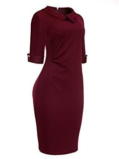 91538540012a35 Women s Business Vintage Dress with Pleated Detail Elebow Sleeve Cocktail  Dress Wine Red X-Large at Amazon Women s Clothing store