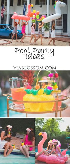 How to throw a fun pool party at the Via Blossom Blog!!  All the Tropical Pool Party decorations and ideas! Summer Pool Party, Luau Party, Summer Parties, Tea Parties, Beach Party, Flamingo Party, Flamingo Float, Pool Party Ideias, Tropical Party Decorations
