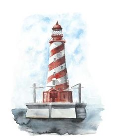Framed Watercolor Lighthouse IV Print