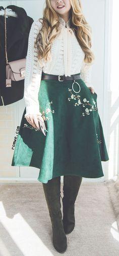 Black Plum Blossom Embroidered Suede A-Line Skirt