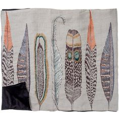 feathers scarf: linen  Embroidery on 100% linen/ 100% silk backing.