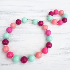 Pink Bubblegum Necklace Magenta Bubblegum by KileysKornerBoutique