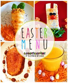 EASTER MENU (vegan option) by Cosericantar (creative homemade food). ***Puff pastry carrot (starter)  ***Easter Bunny burrito (main course) ***French toast (dessert)  ***Easter smoothie - mango carrot cinnamon (drink). Full recipes on itsapieceofcake-cosericantar.blogspot.com / Easter / #cosericantar
