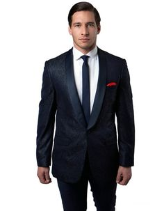 This modern fit dinner jacket features a beautiful paisley print material. A satin shawl lapel, and a one button closure and side vents. It's a guaranteed hit for any party of event. #NavyJacket #WeddingJacket #PromTux #WeddingTux #Tux #Wedding #Prom #DinnerJacket #Jacket Wedding Tux, Wedding Jacket, Navy Jacket, Suit Jacket, Mens Dinner Jacket, Prom Tux, Paisley Print, Shawl, Satin