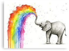 TO GET BY X MAS: Bestellen Bis Dez .) Süße Baby Elefant Sprühen Regenbogen Giclée Kunstdruck von meinem original Aquarell. Dieser skurrile, bunte Druck ist ein perfektes Geschenk für neues Baby und macht Spaß Kinderzimmer Dekor! Standardmäßig wird Elefant, Baby Elefant, Zeichnung, Kunst, Wasserfarben Kunst, Elefant Malen, Kunstdruck, Kunstideen, Kinderzimmer Dekor