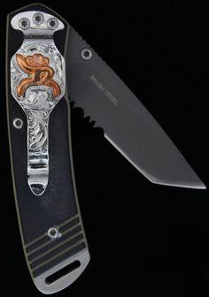 Hooey Knife -Matte Titanium Finish, Serrated Blade, Copper Roughy