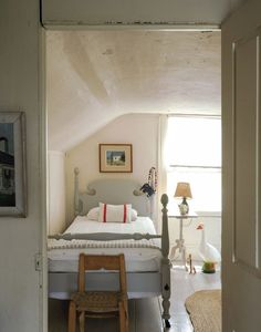 bed painted with Nimbus from Benjamin Moore Cape Cod cottage - Matthew Williams / Remodelista House Interior, House, Home, Interior, Cottage Bedroom, Grey Flooring, Home Decor, Cape Cod Cottage, Room