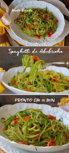 Espaguete de Abobrinha ao alho e óleo - Monta Encanta