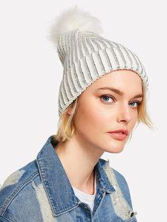 Shop Pom Pom Metallic Beanie Hat online. SheIn offers Pom Pom Metallic Beanie  Hat  amp f70f1d559a18