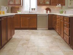 Browse tons of beautifully designed living rooms, kitchens, dining rooms, and bedrooms for some inspiration for your new flooring project. Vinyl Flooring Kitchen, Hallway Flooring, Flooring Store, Luxury Vinyl Flooring, Best Flooring, Luxury Vinyl Tile, Kitchen Tiles, Bathroom Flooring, Oak Kitchen Cabinets
