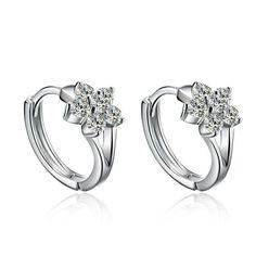 Fashion Silver Stud Earrings Women Cute Snowflake Florid Earrings Luxury Rhinestone Ear Buckle Jewelry Wholesale