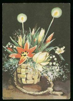 MARTTA WENDELIN Old Ones, Martini, Illustrators, Christmas Cards, Vases, Postcards, Scandinavian, Flowers, Stamps