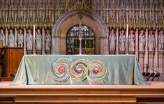 An intricately embroidered new cover for the altar in York Minster's Nave will be dedicated during a service on Sunday October). Glasgow Cathedral, Durham Cathedral, Christian Calendar, Green Colors, Colours, York Minster, North Yorkshire, Textile Artists, Sounds Like
