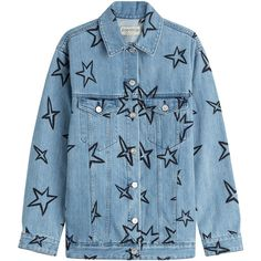 Etre Cécile Star Print Jean Jacket (€325) ❤ liked on Polyvore featuring outerwear, jackets, denim, tops, coats & jackets, blue, embroidered denim jackets, blue jackets, embroidered jacket and blue denim jacket