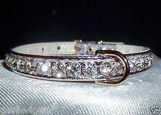 Rhinestone Bling Dog Pet Collars Crystal Jewel Silver 4 Sizes Metallic   eBay