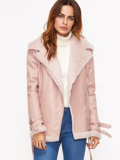 Shop Pink Faux Shearling Belted Cuff And Hem Moto Jacket online. SheIn offers Pink Faux Shearling Belted Cuff And Hem Moto Jacket & more to fit your fashionable needs. Shearling Jacket, Leather Jacket, Backless Sweater, Peau Lainee, Types Of Jeans, Moto Jacket, Winter Outfits, Winter Jackets, Clothes For Women