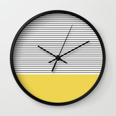 Chartreuse Green with black stripes wall clock / by AjcPaperie