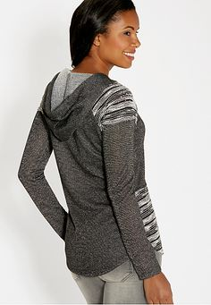 hooded pullover with metallic shimmer and rhinestone embellished shoulders - maurices.com