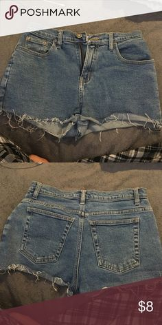Jean shorts A bit high waisted. Great condition. Size 7 in kids. Size 3 in juniors Arizona Jean Company Shorts